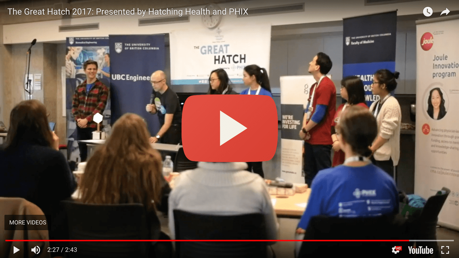 Jack, Matthew and Lily pitching at Hatching Health 2017